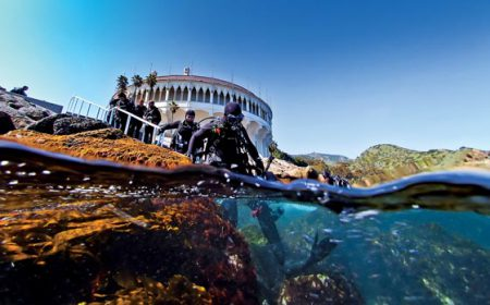 Scuba divers walk down steps into water at Casino Point, Catalina Island, California, Pacific. Image credit: AlertDiver.com